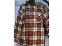 BLACK STALLION CHECK PATTERNED PADDED JACKET SIZE SAYS S BUT ITS BIG SO A S/M