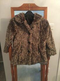 Girls leopard print fur coat age 6-7 years