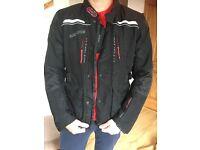 Padded Bering motorbike jacket, helmet and gloves for sale