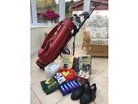Golf clubs, bag and trolley, balls, tees, books, glove, towel, shoes