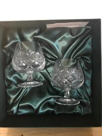 2 M and S Crystal Brandy Glasses