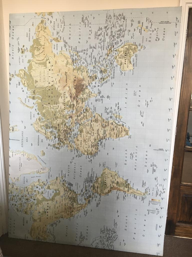 Huge Ikea World Map Wall Canvas In Barry Vale Of Glamorgan