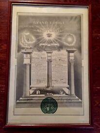 Freemasons rare document framed