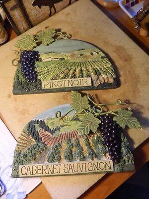 2 Wall Plaques Wine Vineyard Cabernet Sauvignon & Pinot Noir Carol Rowan Grapes for sale  Freeport
