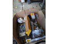 Box of assorted bolts, screws, nails and back boxes