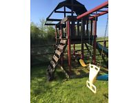 Adventure playsets outlook II. Fantastic condition. Climbing frame, swings, slide, rope net + more