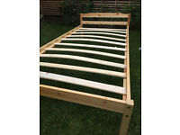 Simple solid wood single bed with under bed drawers