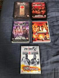 Pride F.C. and K1 Dynamite kickboxing and MMA DVDs.