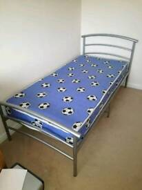 Metal Single Bed Frame and Mattress