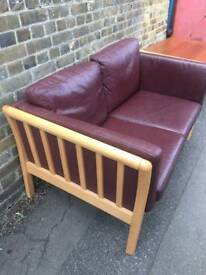 Leather and Beech Frame Sofa Settee
