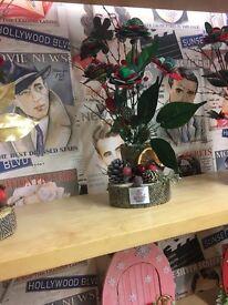 Harris tweed Christmas flowers