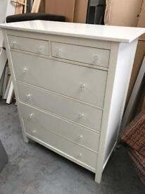 FREE DELIVERY IKEA HEMNES WHITE CHEST OF 6 DRAWERS WITHE CRYSTAL HANDLES GOOD CONDITION