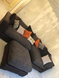 DFS Sinan large corner sofa & footstool, cuddle chair & half footstool & chair