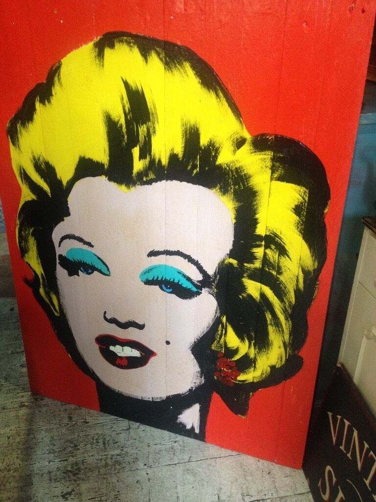 ANDY WARHOL MARILYN MONROE PAINTED OIL ON BOARD 1.5 M X 1.5 M