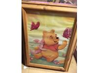 2 x large Winnie the Pooh pictures in pine frames
