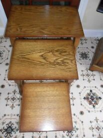 Nest of 3 Chunky Oak Effect Vintage Tables Very Good Condition