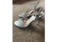 New Look silver ankle strap heels, size 4.