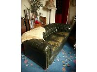 Vintage Shabby Green Leather Chesterfield 3 seater sofa couch