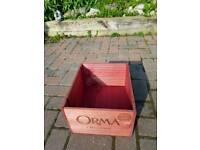 Rare red wooden wine box, storage box, flower pot, vintage, retro