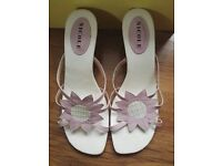 Nicole Sunbeam Pink Wedge Leather Sandals With Box UK 6.5
