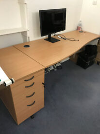 Office Wave Desk and Matching Drawer Unit