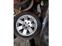 """5 stud 16"""" ford alloys with tyres good condition"""