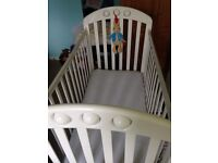 Mamas and Papas Cot. White. Complete with mattress and mattress cover.