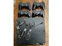 PS3 250 gb slim, 4 controllers.