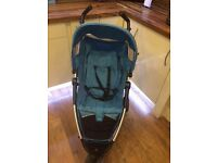 Petite star Zia stroller with foot muff , seat liner and rain cover