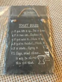 Slate toilet rules plaque