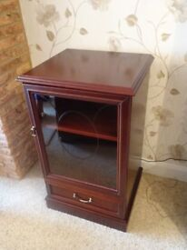Hardwood and Glass Stereo Unit for Sale. Adjustable shelf and precut apperture for wiring.