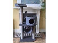 Charcoal, felt cat tower