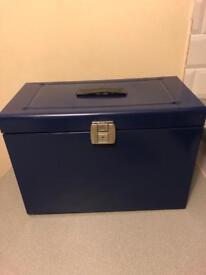 Blue metal portable filing box