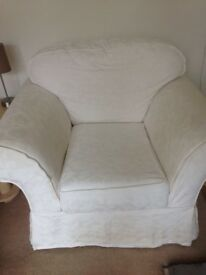 Sofa, chair and footstool.