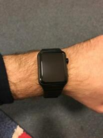 Apple Watch - 42mm Space Black Stainless Steel Case with Black Leather Strap