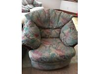 4 piece suite - large sofa, small sofa, chair, footstool