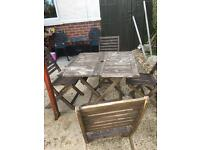 Garden table and chairs.
