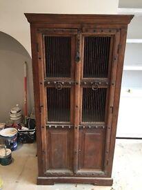 Handmade 'prison' style cabinet in sheesham wood