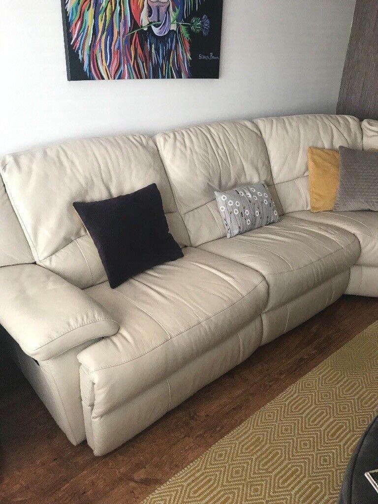 Cream Leather corner sofa | in Dunfermline, Fife | Gumtree