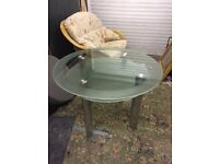 LARGE DIAMETER GLASS TOP TABLE WITH SHELF UNDERNEATH