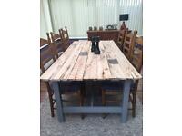 Handmade rustic dining table & 6 dining chairs