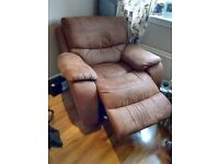 Furniture suite: oversized recliner rocking armchair, plus 3 seater sofa couch with 2 reclining ends
