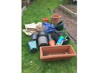 FREE garden items, plant pots, netting, plastic ground cover, weed control hanging basket planters