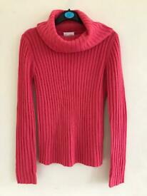 Beautiful coral thick knitted polo neck jumper