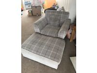 Grey modern style Sofa chair with pouffe
