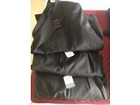 DOUBLE BREASTED PINSTRIPED PURE WOOL JKT AND 2 PAIRS TROUSERS ; BRAND NEW