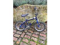 Boys BMX-style bike. Wheels 15 x 1.75; saddle adjustable from 50 to 65cms; crossbar 34cm