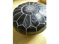 100% GENUINE MOROCCAN LEATHER POUFFE HANDCRAFTED LEATHER POUFFE