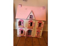 Gorgeous wooden dolls house with accessories