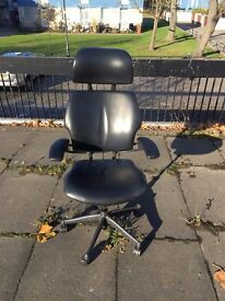 Humanscale Black Leather Swivel Office Chair